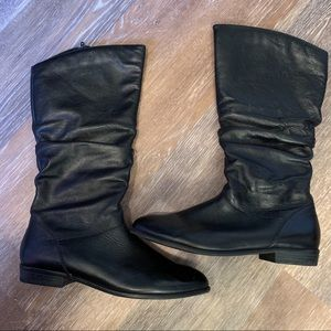 Aldo black leather boots With 1 inch heel